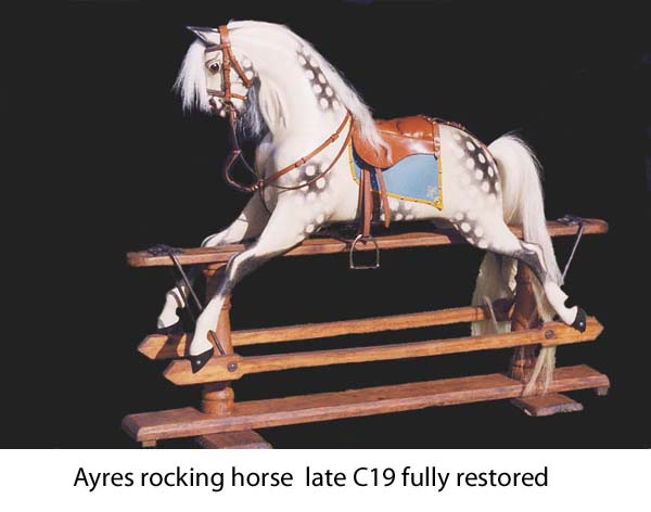 Extra carved Ayres rocking horse fully restored